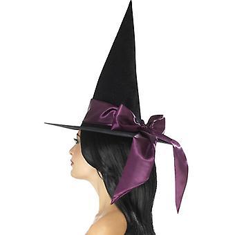 Smiffys Deluxe strega cappello nero con fiocco viola (neonati e bambini, costumi)