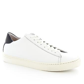 Leonardo Shoes Chaussures Men-apos;s chaussures de baskets à lacets faites à la main en cuir de veau blanc