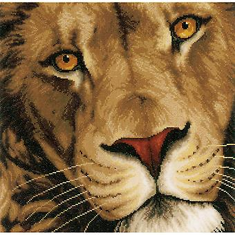 LanArte King Of Animals On Aida Counted Cross Stitch Kit-13.75