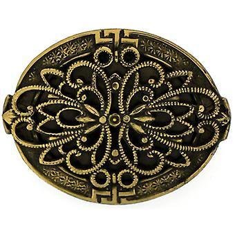 Cavendish French Oval Filigree Antique Gold Brooch