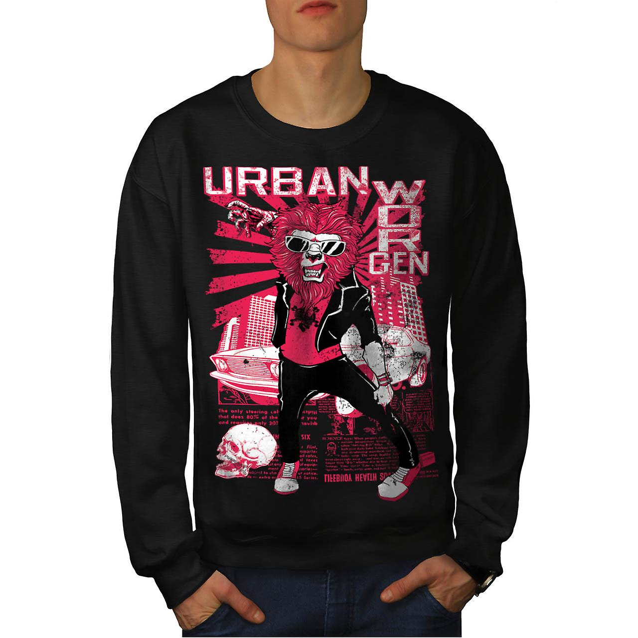 Urban Jungle Lion Claw City Life Men Black Sweatshirt | Wellcoda