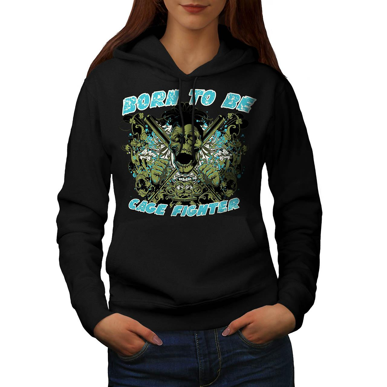 Born Cage Fighter USA Dead Skull Women Black Hoodie | Wellcoda