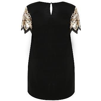 PRASLIN Black & Gold Shift Dress With Sequin Shoulder Detail