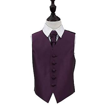 Boy's Solid Check Cadbury Purple Wedding Waistcoat & Cravat Set
