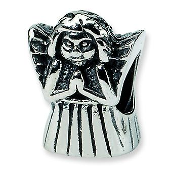 Sterling Silver Polished Antique finish Reflections Praying Angel Bead Charm