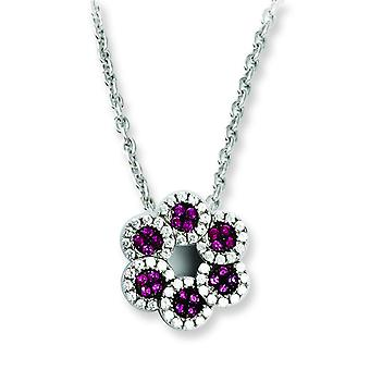 Sterling Silver and CZ Brilliant Embers Red Flower Necklace - 18 Inch