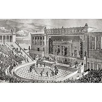 Das Theater des Dionysos Athen Griechenland veröffentlicht wie es In der Antike von Harmsworth Buchgeschichte der Welt erschienen wäre, 1908 PosterPrint