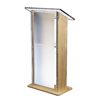 Oak Wood Lectern with Frosted Acrylic Panels