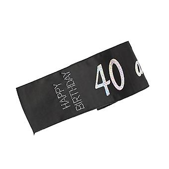 40 and Naughty Black Happy Birthday Diamante Sash Perfect Night Out Accessory