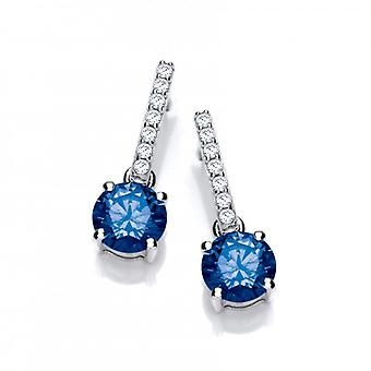 Cavendish French Round Sapphire Cubic Zirconia Solitaire Drop Earrings