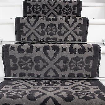 70cm Width - Contemporary Moroccan Grey Stair Carpet