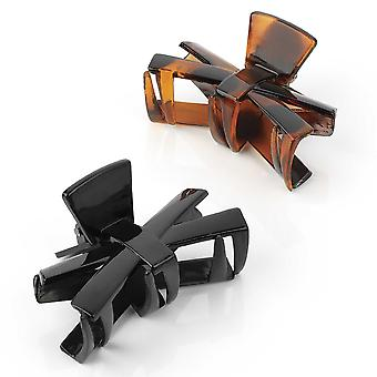 Two Piece Black And Tortoise Shell Colour Hair Claw Clip Hair Accessory Set