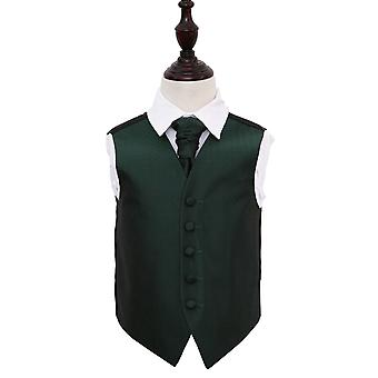 Boy's Dark Green Greek Key Patterned Wedding Waistcoat & Cravat Set