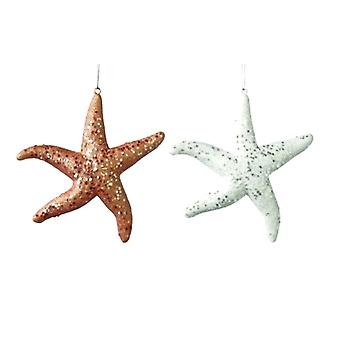 Coastal Glittery Starfish Christmas Holiday Ornaments Set of 2