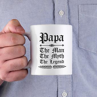 Vintage Gothic Papa The Man The Myth The Legend Ceramic Mug For Father And Grandfather