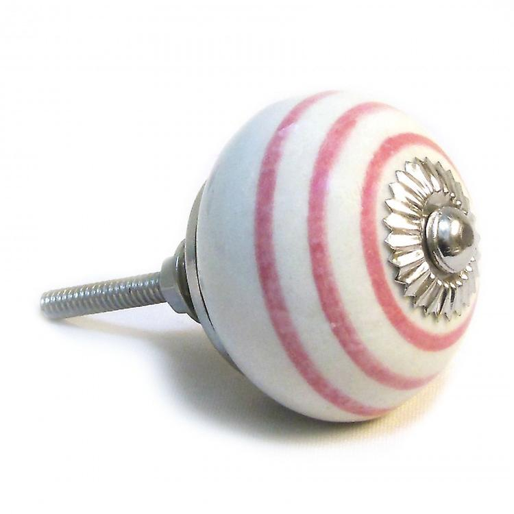 White / Pink Stripes Ceramic Cupboard Knob