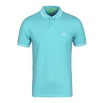 BOSS Green Paul Turquoise Twin Tipped Short Sleeve Polo Shirt