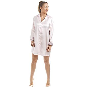 Camille Luxury Light Pink Satin Nightshirt