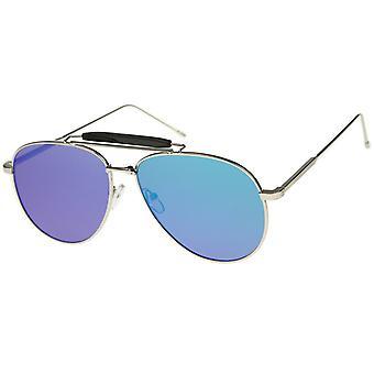Store klassiske Teardrop overligger spejlet flad linse Aviator solbriller 56mm