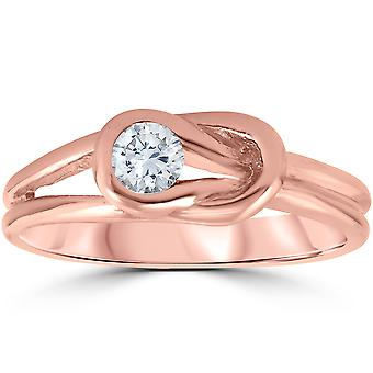 1/5ct Diamond Knot Solitaire Round Brilliant Cut Ring 14K Rose Gold