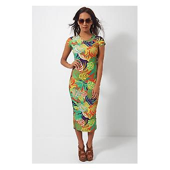 The Fashion Bible Tropics Midi Dress In Green