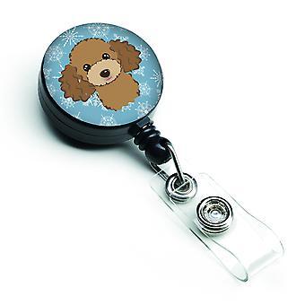 Snowflake Chocolate Brown Poodle Retractable Badge Reel