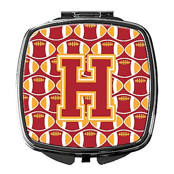 Letter H Football Cardinal and Gold Compact Mirror