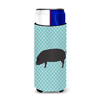 Devon Large Black Pig Blue Check Michelob Ultra Hugger for slim cans
