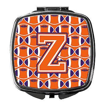 Letter Z Football Orange, White and Regalia Compact Mirror