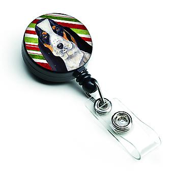 Basset Hound Candy Cane Holiday Christmas Retractable Badge Reel