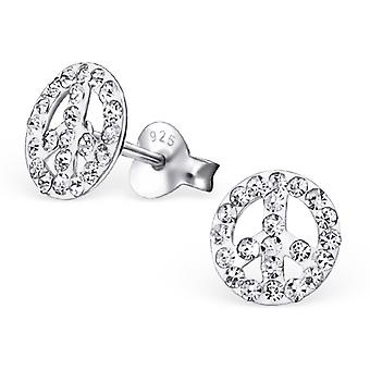 Peace - 925 Sterling Silver Crystal Ear Studs
