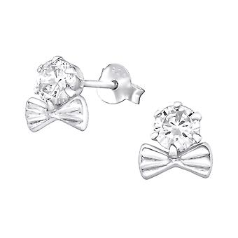 Bow - Cubic Zirconia + 925 Sterling Silver Cubic Zirconia Ear Studs