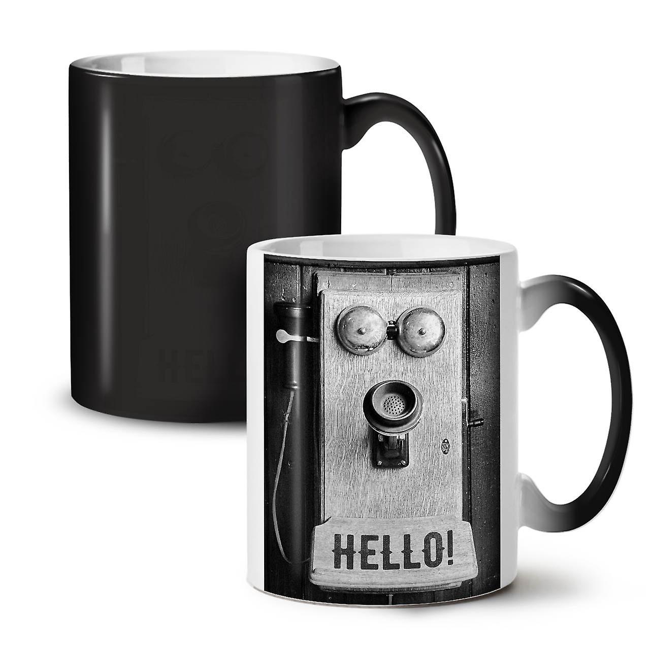 Ozwellcoda Noir 11 Céramique Changeant Tasse Bonjour