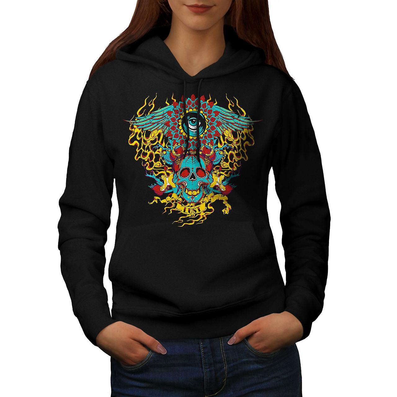 Heart Flame Eye Skull Women Black Hoodie | Wellcoda