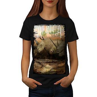 Animal Africa Horn Women BlackT-shirt | Wellcoda