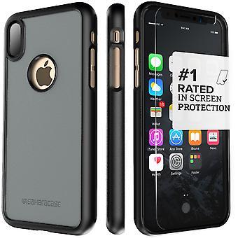 SaharaCase caso del iPhone X gris, dBulk paquete de Kit de protección con vidrio templado de ZeroDamage