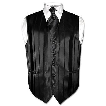 Men's Dress Vest & NeckTIE Woven Striped Design Neck Tie Set