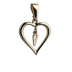 9ct Gold 18x18mm heart Pendant with a hanging Initial V