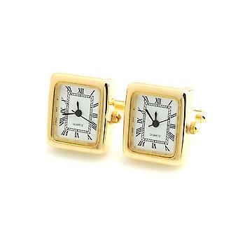 ゴールド トーンの四角い時計の作業メンズ レディース時計ウエディング事業を正式なカフス