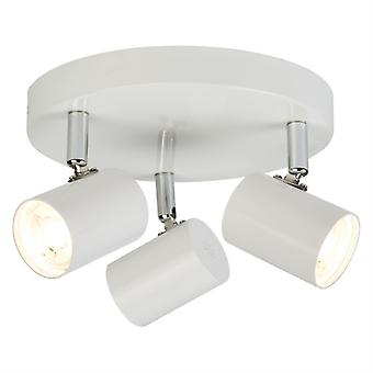 Rollo White Three Light Spotlight On Plate - Searchlight 3173wh