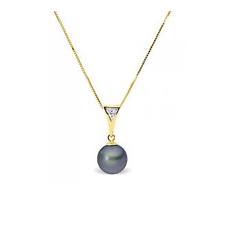Necklace pendant Pearl of Culture of water soft black, diamonds and yellow gold 375/1000