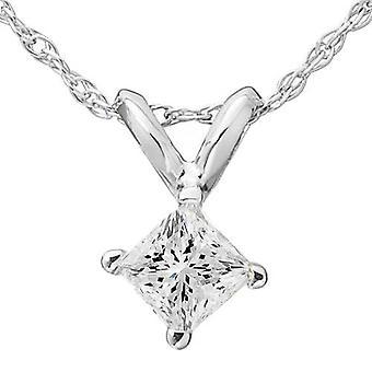 3/4ct Princess Cut Solitaire Diamond Pendant White Gold