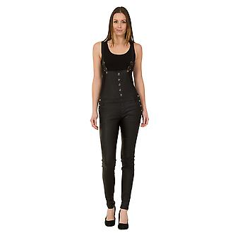 Womens Black Skinny Dungarees - Leather Look Stretch Slim Leg Bib Overalls