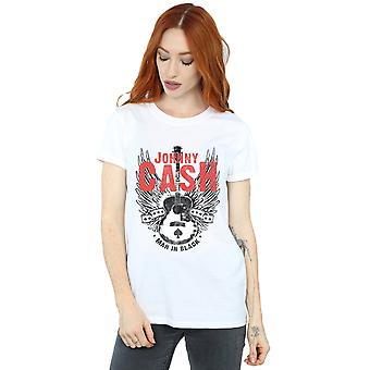 Johnny Cash Women's Wings And Guitar Boyfriend Fit T-Shirt