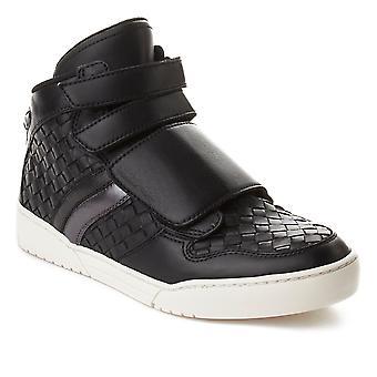 Bottega Veneta mænds Intrecciato High Top Sneaker sko sort
