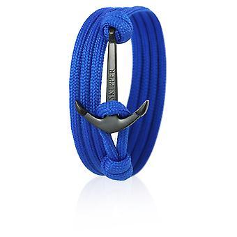 Schipper anker armband armband in blauwe Nylon met zwarte anker 6578