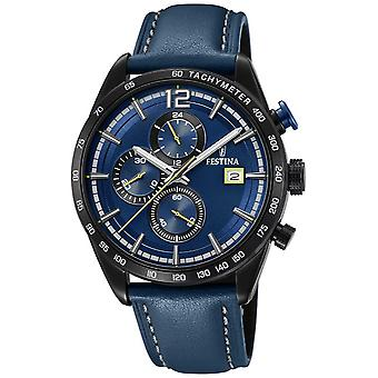 Festina Mens Sport Chronograph Blue Leather Strap Blue Dial F20344/2 Watch