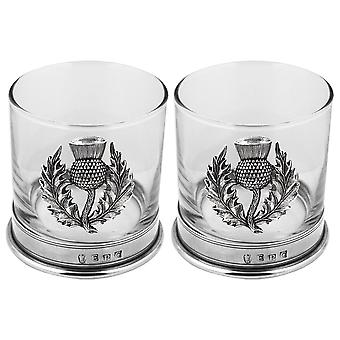 Scottish Thistle Pewter Whisky Glass Tumbler - Set of 2