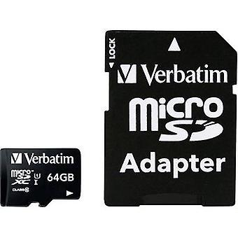 Verbatim MICRO SDXC 64GB CL 10 ADAP microSDXC card 64 GB Class 10 incl. SD adapter