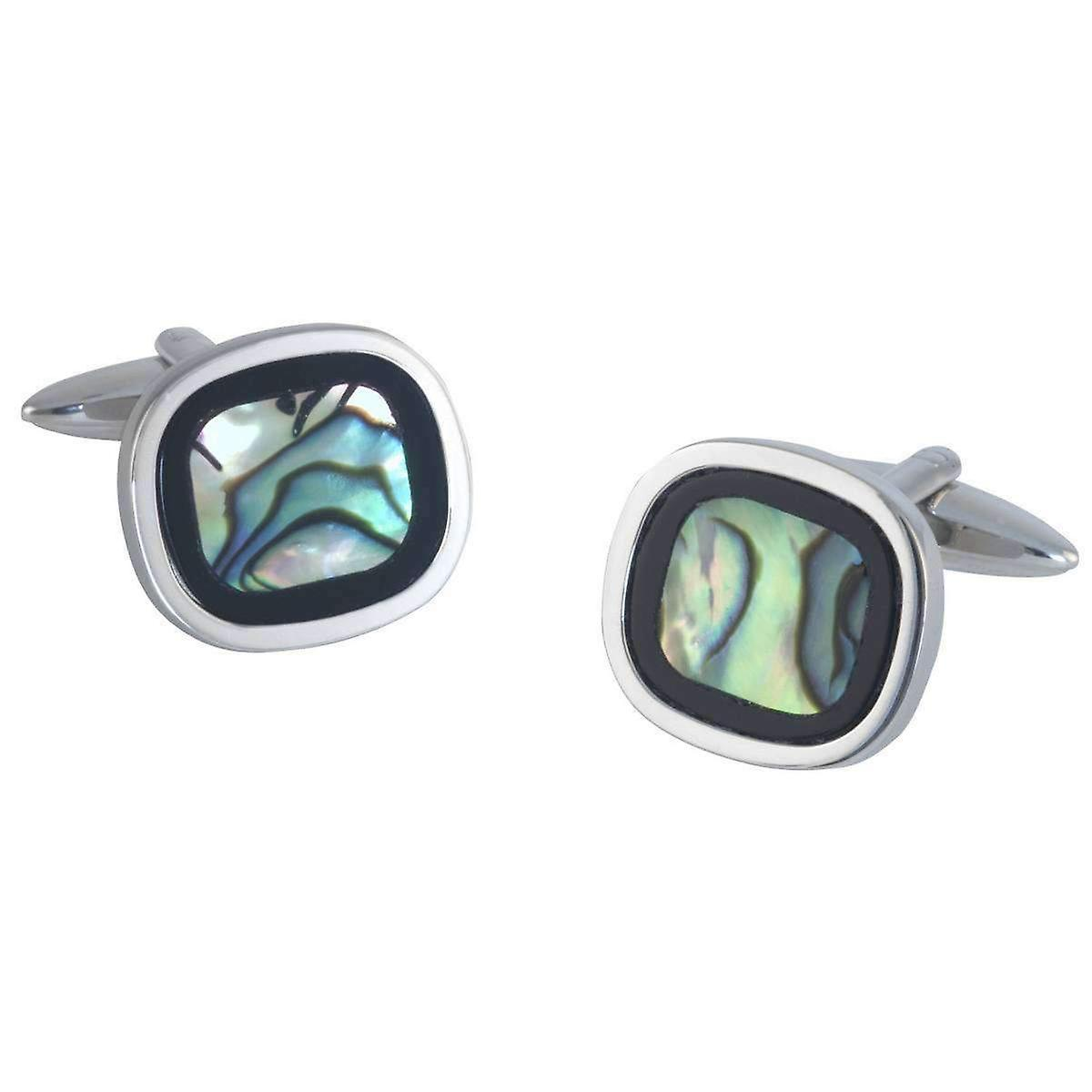 David Van Hagen Rounded Square Onyx and Abalone Cufflinks - Silver/Green